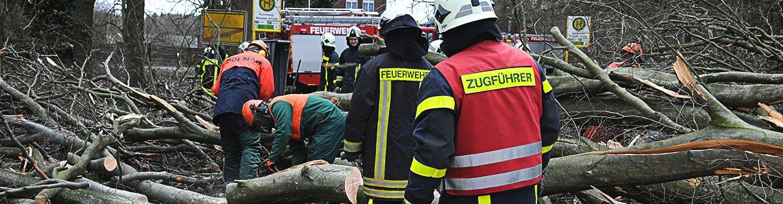 Einsatzkräfte der Feuerwehr räumen umgestürzte Bäume von einer Straße.