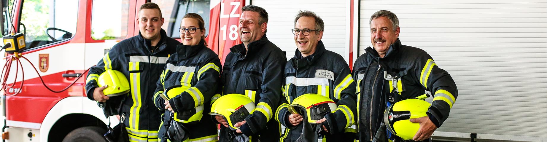 Eine Truppe der Freiwilligen Feuerwehr.